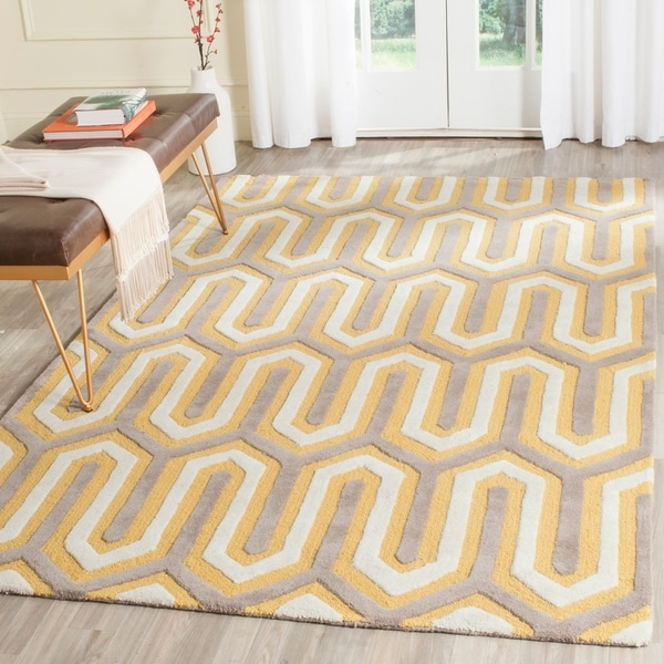 Safavieh Handmade Moroccan Cambridge Gold/ Grey Wool Rug - 8' x 10'