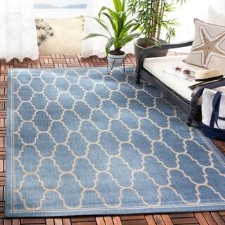 Safavieh Courtyard Trellis Blue/ Beige Indoor/ Outdoor Rug (4' x 5'7)