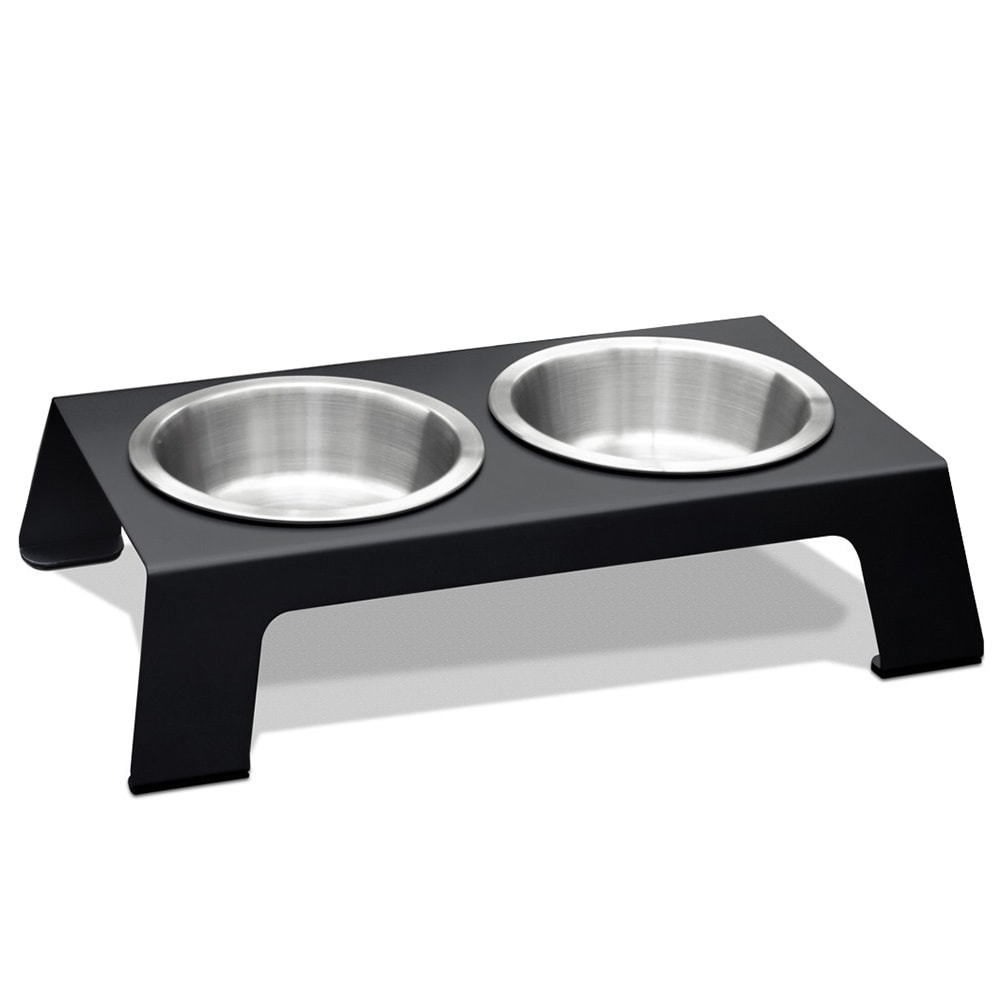 PetFusion Elevated Anodized Aluminum Pet Feeder (Short, M...