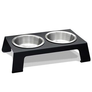 PetFusion Elevated Anodized Aluminum Pet Feeder - Short
