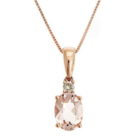 Anika and August 14k Rose Gold Morganite and Diamond Accent Pendant Necklace (GH, I1-I2)