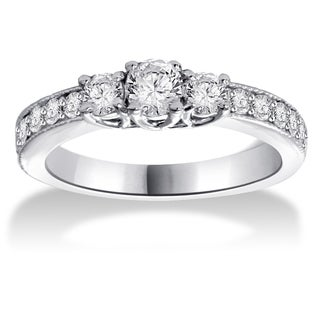14k White Gold 1/ 2ct TDW Three-stone Diamond Ring