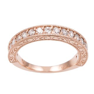 14k rose gold 12ct tdw hand engraved vintage style diamond band ring - Vintage Style Wedding Rings