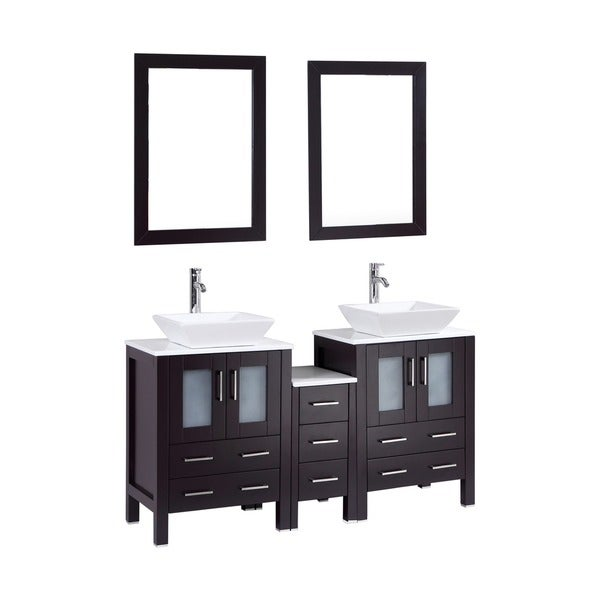 Shop Espresso Oak 60-inch Bath Vanity Cabinet Combo With Marble Top And Mirror