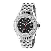 Centorvm Men's Falcon Midsize 1/2ct TDW Diamond Black Dial Watch Metal Band plus Extra Leather Strap