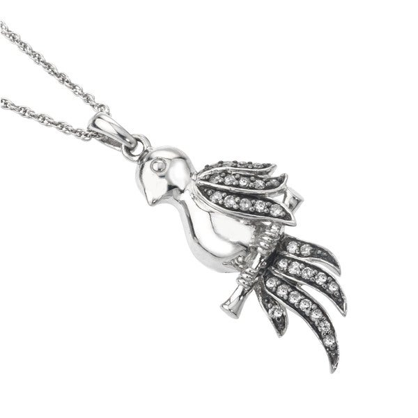 Silvermist 1 3ct Tdw Grey Diamond Parrot Bird Necklace By Ever One