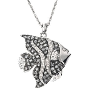SilverMist Sterling Silver 3/4ct TDW Grey and White Diamond Fish Necklace By Ever One (H-I, I2-I3)