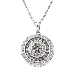 SilverMist Sterling Silver 3/4ct TDW Grey and White Diamond Necklace By Ever One (H-I, I1-I2)