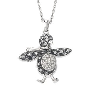 SilverMist Sterling Silver 1/3ct TDW Grey and White Diamond Penguin Necklace By Ever One