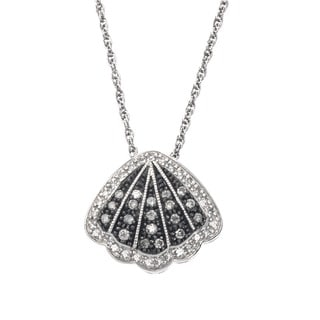 SilverMist Sterling Silver 1/3ct TDW Grey and White Diamond Shell Necklace By Ever One