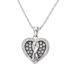 SilverMist Sterling Silver 1/4ct TDW Grey and White Diamond Heart Necklace By Ever One (H-I, I2-I3)