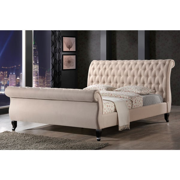 shop luxeo nottingham tufted upholstered sand sleigh platform bed free shipping today. Black Bedroom Furniture Sets. Home Design Ideas