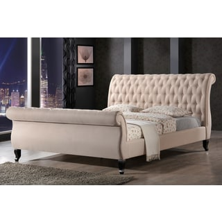LuXeo Nottingham Tufted Upholstered Sand Sleigh Platform Bed