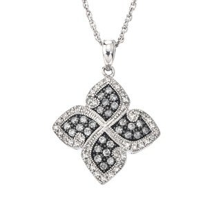 SilverMist 1/2ct TDW Grey and White Diamond Floral Necklace By Ever One (H-I, I2-I3)