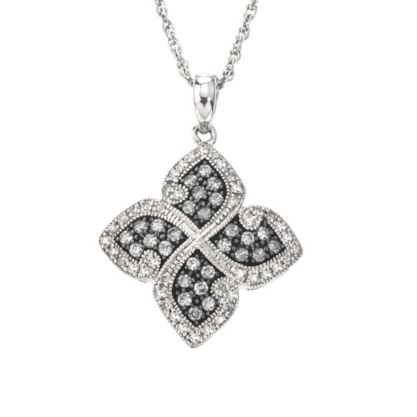 Shop SilverMist 1/2ct TDW Grey and White Diamond Floral