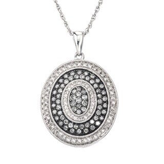 SilverMist Sterling Silver 1ct TDW Grey and White Diamond Medallion Necklace By Ever One (H-I, I2-I3)