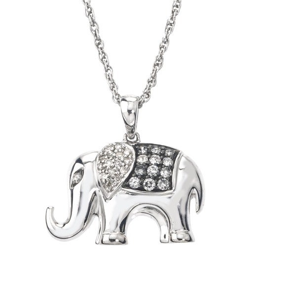 SilverMist 1/4ct TDW Grey and White Diamond Elephant Necklace By Ever One