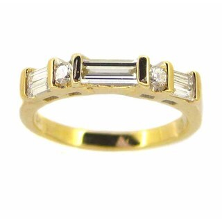 Kabella Luxe 18k Yellow Gold Vintage Baguette Cut Diamond Band (G-H, VS1-VS2)