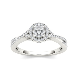 De Couer 10k Gold 1/2ct TDW Diamond Single Halo Engagement Ring