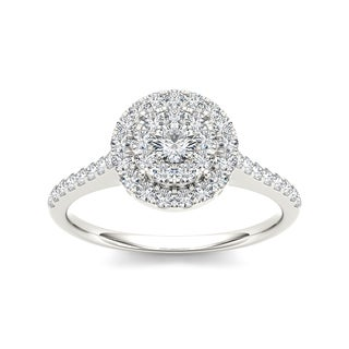 De Couer 10k Gold 3/4ct TDW Diamond Double Halo Engagement Ring