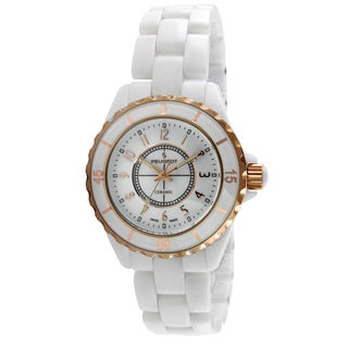 Peugeot Women's PS4895RG Swiss White Ceramic Sport Bezel Watch
