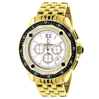 Centorum Falcon Men's 3/5ct TDW Diamond Chronograph Watch Metal Band plus Extra Leather Straps