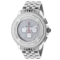 Centorvm Men's 1/2ct TDW Paved Diamond Stainless Steel Watch Metal Band plus Extra Leather St