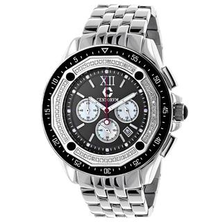 Centorum Men's Falcon 1/2ct TDW Diamond Black Dial Watch Metal Band plus Extra Leather Straps