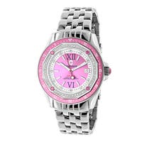 Centorvm Women's Falcon 1/2ct TDW Diamond Pink Dial Watch Metal Band plus Extra Leather Straps