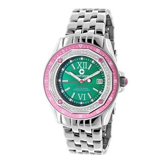 Centorum Women's 1/2ct TDW Diamond Designer Watch Metal Band plus Extra Leather Straps