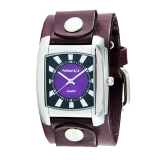 Nemesis Women's PUGB049PU 'Sunshine' Purple Leather Cuff Watch