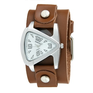 Nemesis Women's Silver Small Brown Leather Cuff Band Triangle Watch