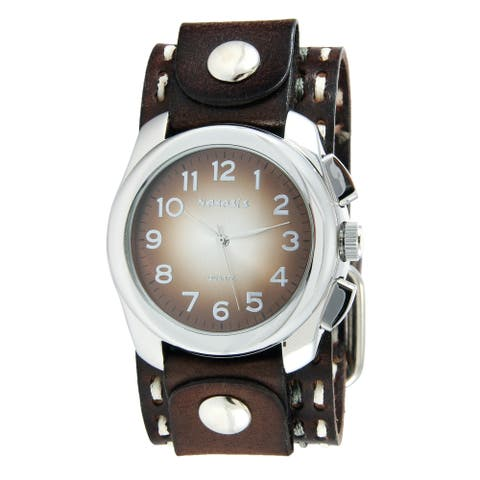 Nemesis Men's Brown Oval Dark Brown Double Stitched Leather Cuff Band Gradient Watch
