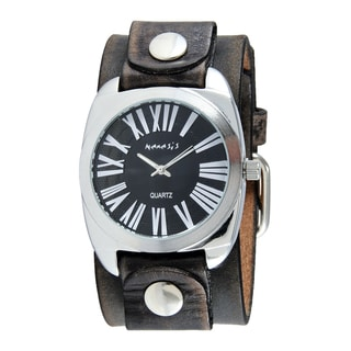 Nemesis Men's Retro Roman Faded Black Leather Cuff Band Watch