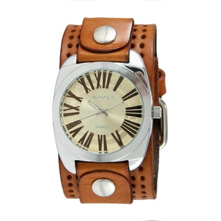 Nemesis Women's Gold Tone Retro Roman Watch with Brown Perforated Leather Cuff Band