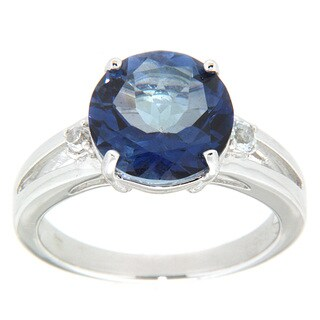 Pearlz Ocean Blue Passion and White Topaz Ring Jewelry for Womens