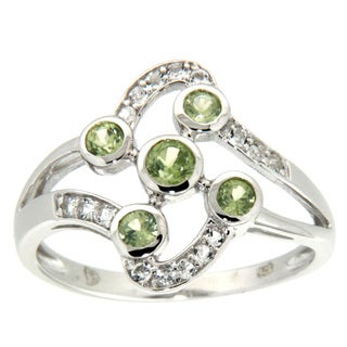 Pearlz Ocean Peridot and White Topaz Ring Jewelry for Womens