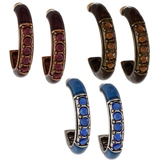 Alexa Starr Set of 3 Enamel Hoop Earrings