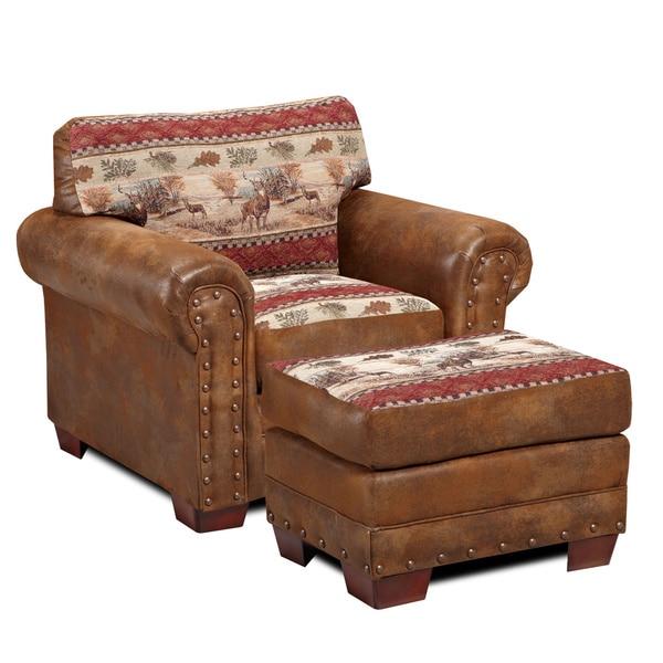 Deer Valley Microfiber And Printed Tapestry Lodge Chair