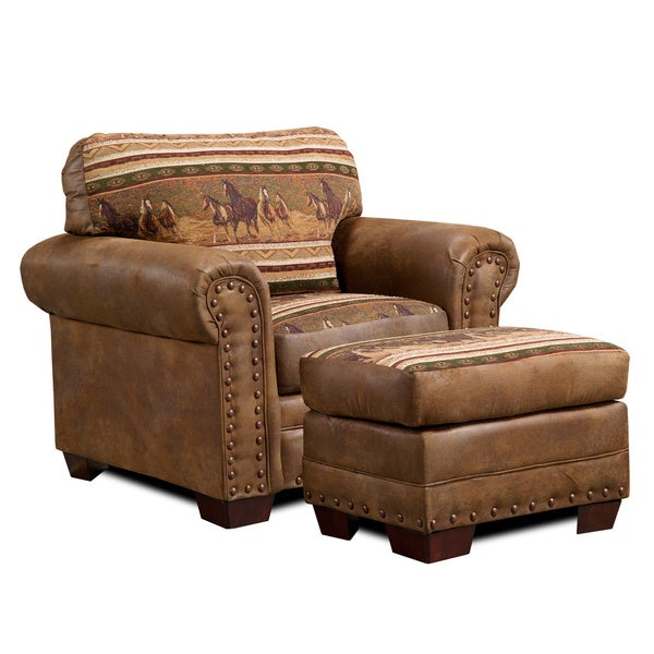 Wild Horses Cotton Printed Tapestry Lodge Chair - Free Shipping Today - Overstock.com - 16403588