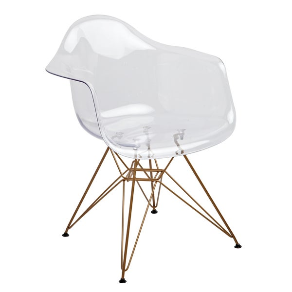 Design Guild Living Clear Seat Gold Legs Chair Free