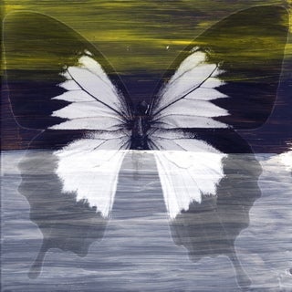Art in Style 'Butterfly in Black, White and Yellow' Giclee on Canvas Wall Art