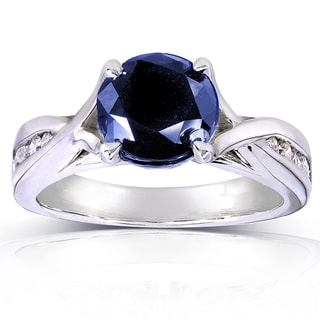 Annello by Kobelli 14k White Gold Round Blue Sapphire and 1/5ct TDW Diamond Ring (H-I, I1