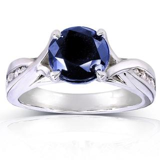 Annello 14k White Gold Round Blue Sapphire and 1/5ct TDW Diamond Ring (H-I, I1-I2)