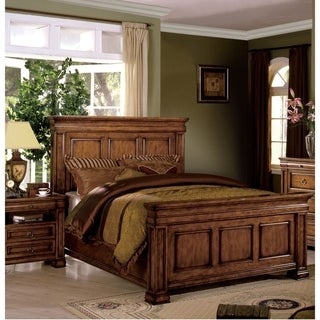 Furniture of America Hiaz Traditional Solid Wood Beveled Panel Bed
