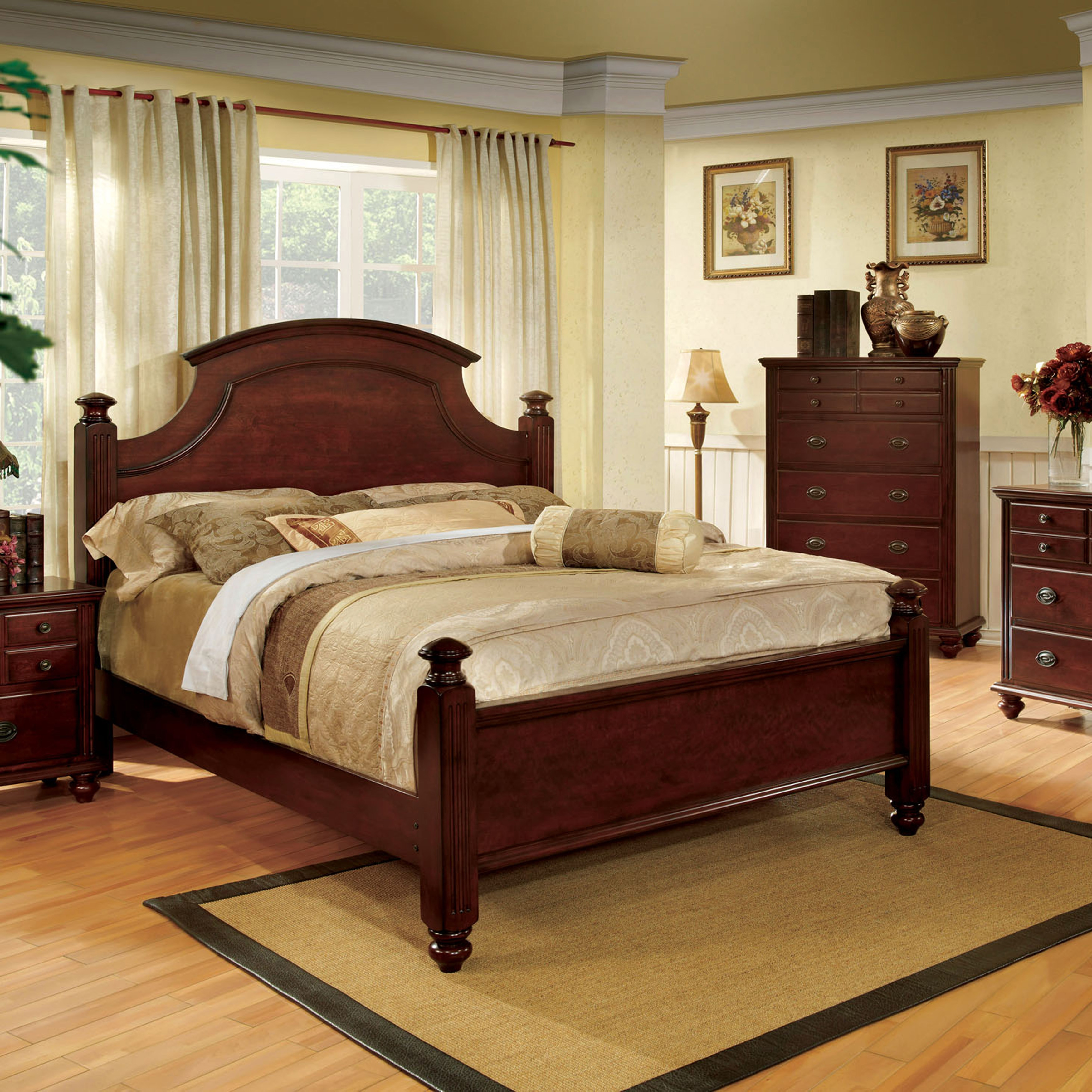 Furniture of America European Style Cherry Four Poster Be...