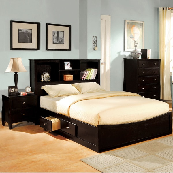 Shop Furniture Of America Elisandre Espresso Bookcase Headboard Platform Bed