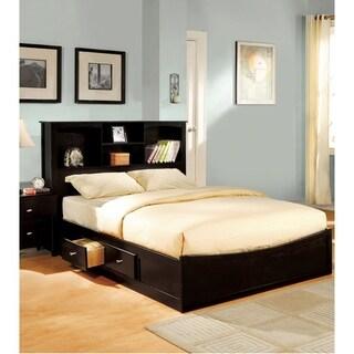 Furniture of America Elisandre Espresso Bookcase Headboard Platform Bed