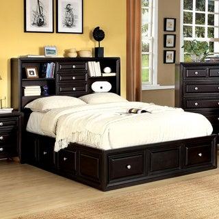 Furniture of America Espresso Bookcase Headboard Platform Bed