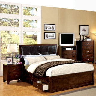Furniture of America Ricarde Brown Cherry Leatherette Headboard Storage Platform Bed